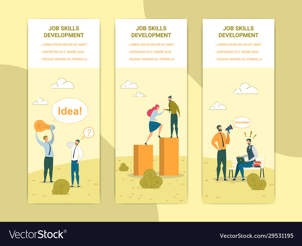 Job Skills Development Web Banners Templates Set Vector Image
