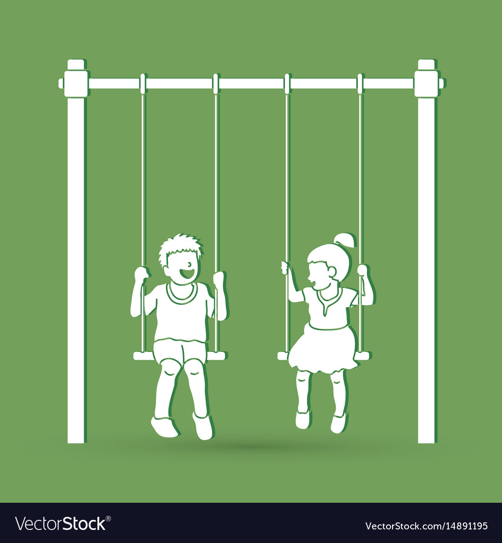 Little boy and girl are playing swing together