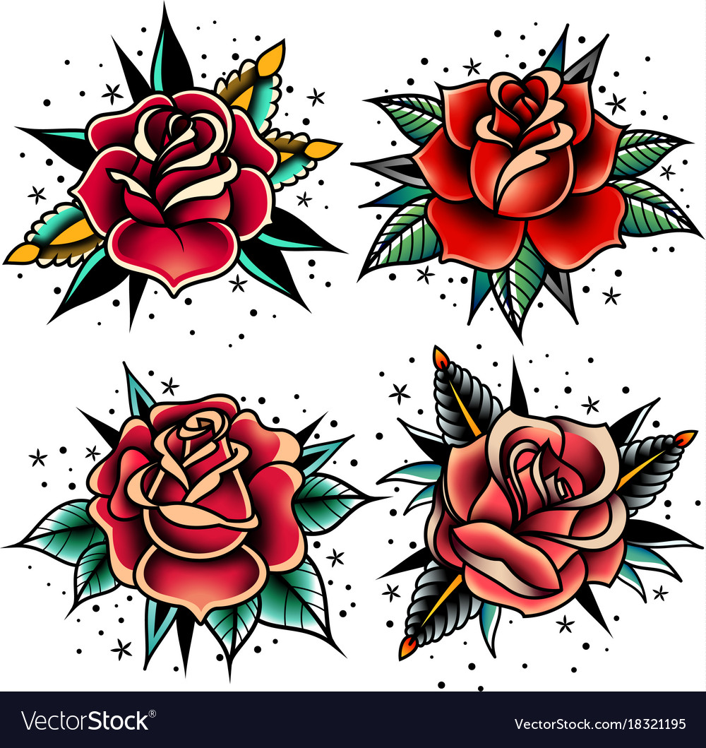 Old School Tattoo Roses Set Royalty Free Vector Image