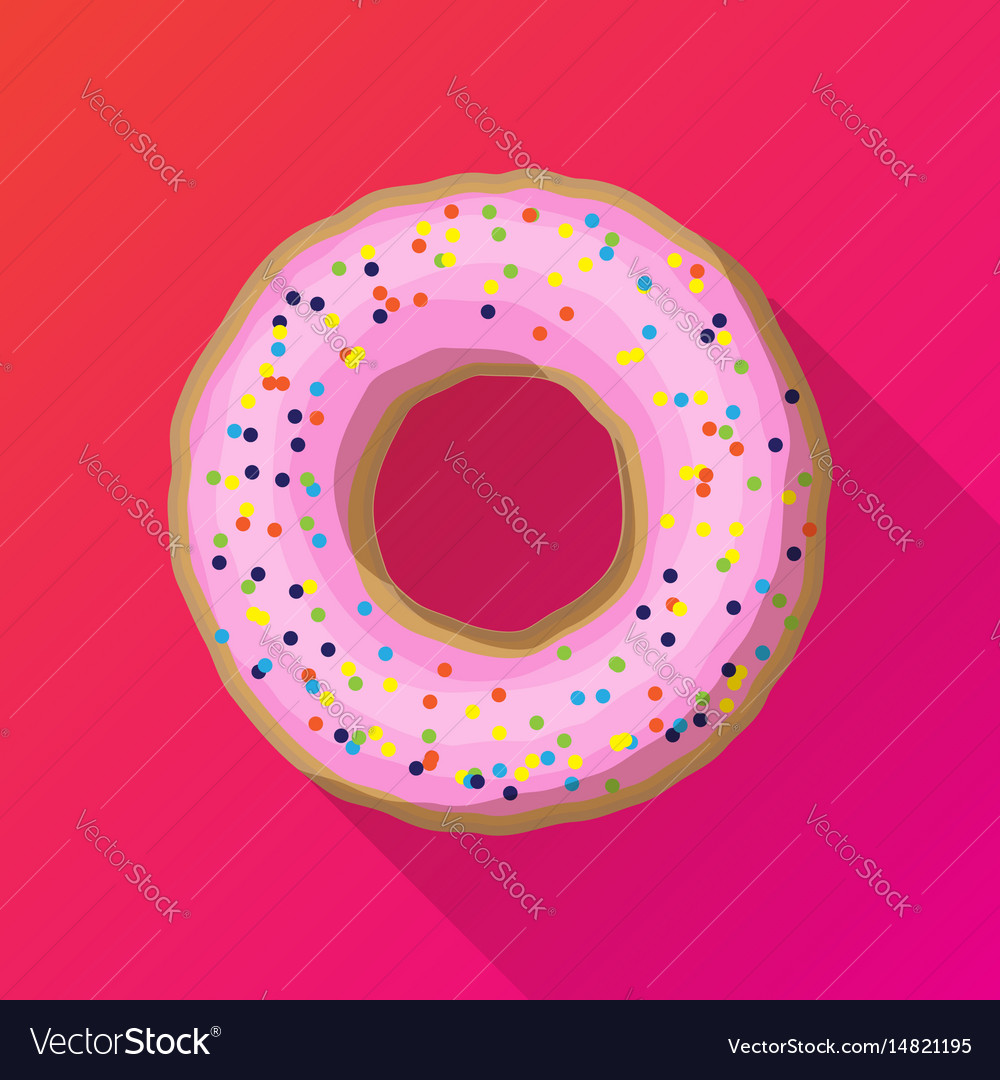 One strawberry donut with pink sprinkles vector image