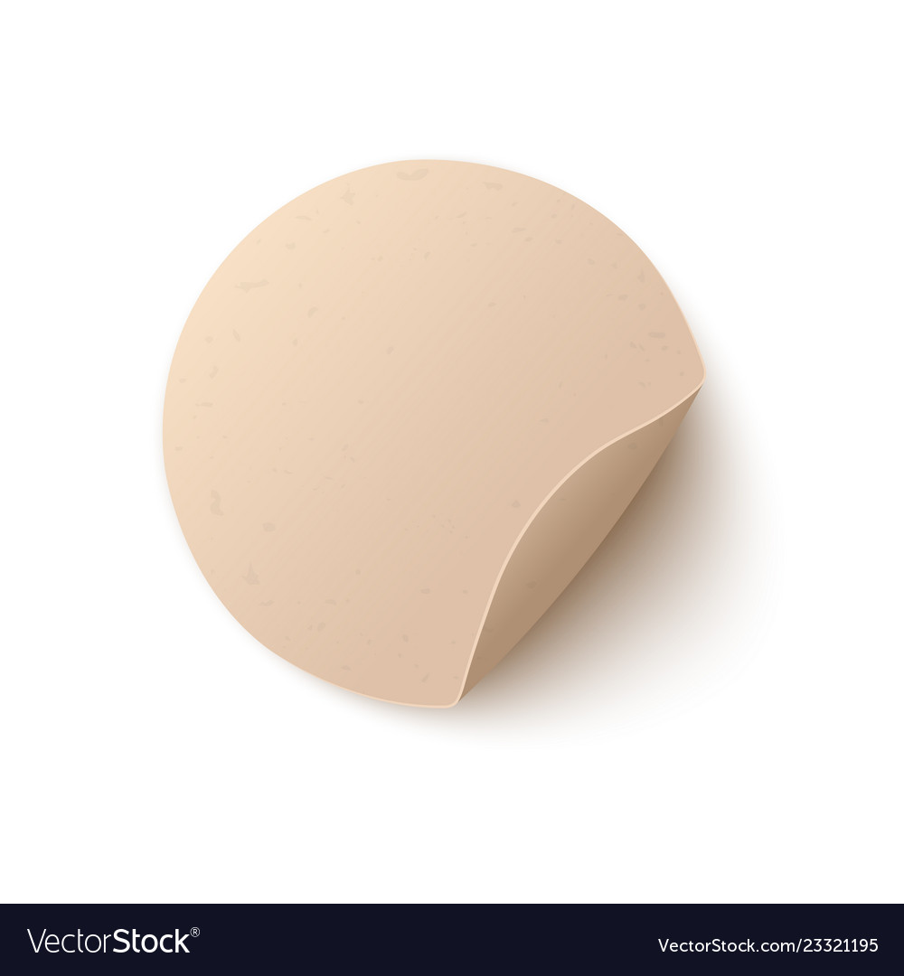 Round blank paper sticker with peel off corner in