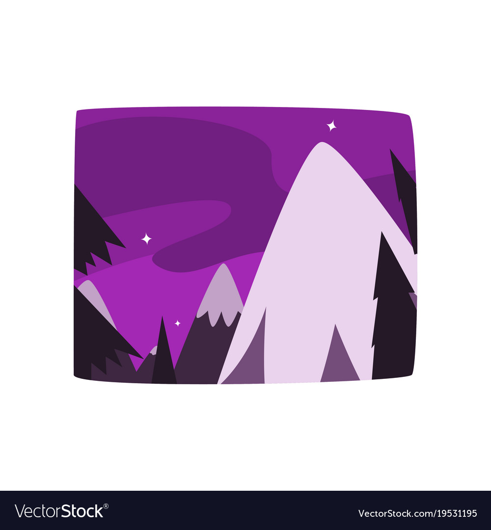 Snowy mountains at night time beautiful landscape