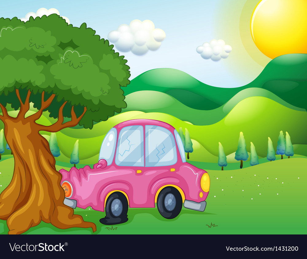 A pink car bumping the big tree vector image