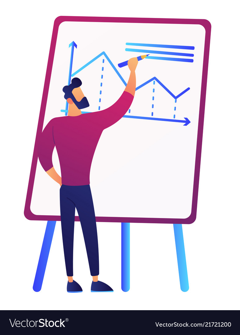 Businessman drawing growth chart on board