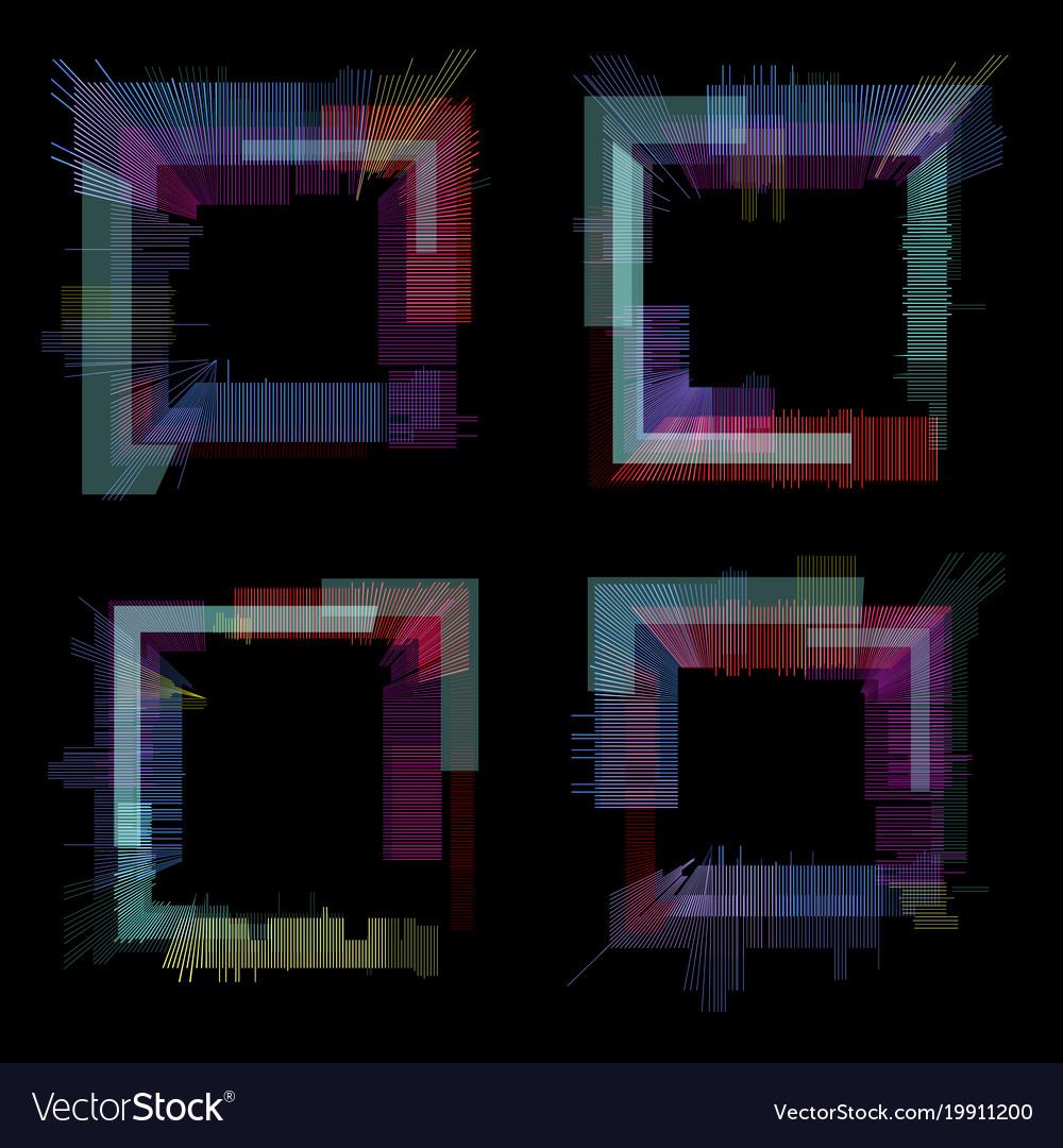 Glitch elements set digital pixel noise color