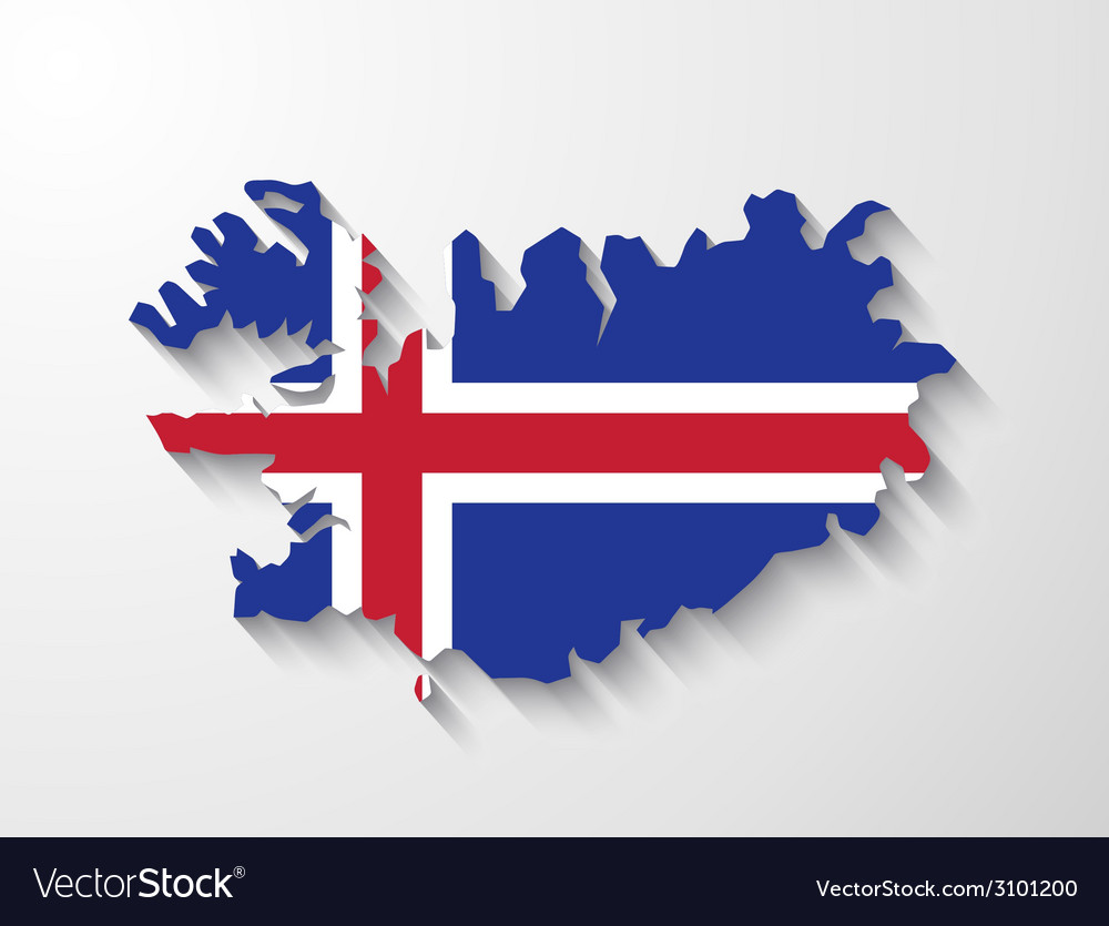 Iceland country map with shadow effect vector
