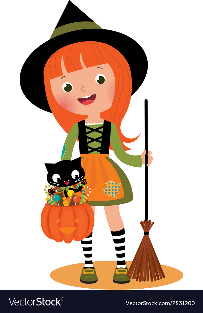 Little witch and her cat on Halloween