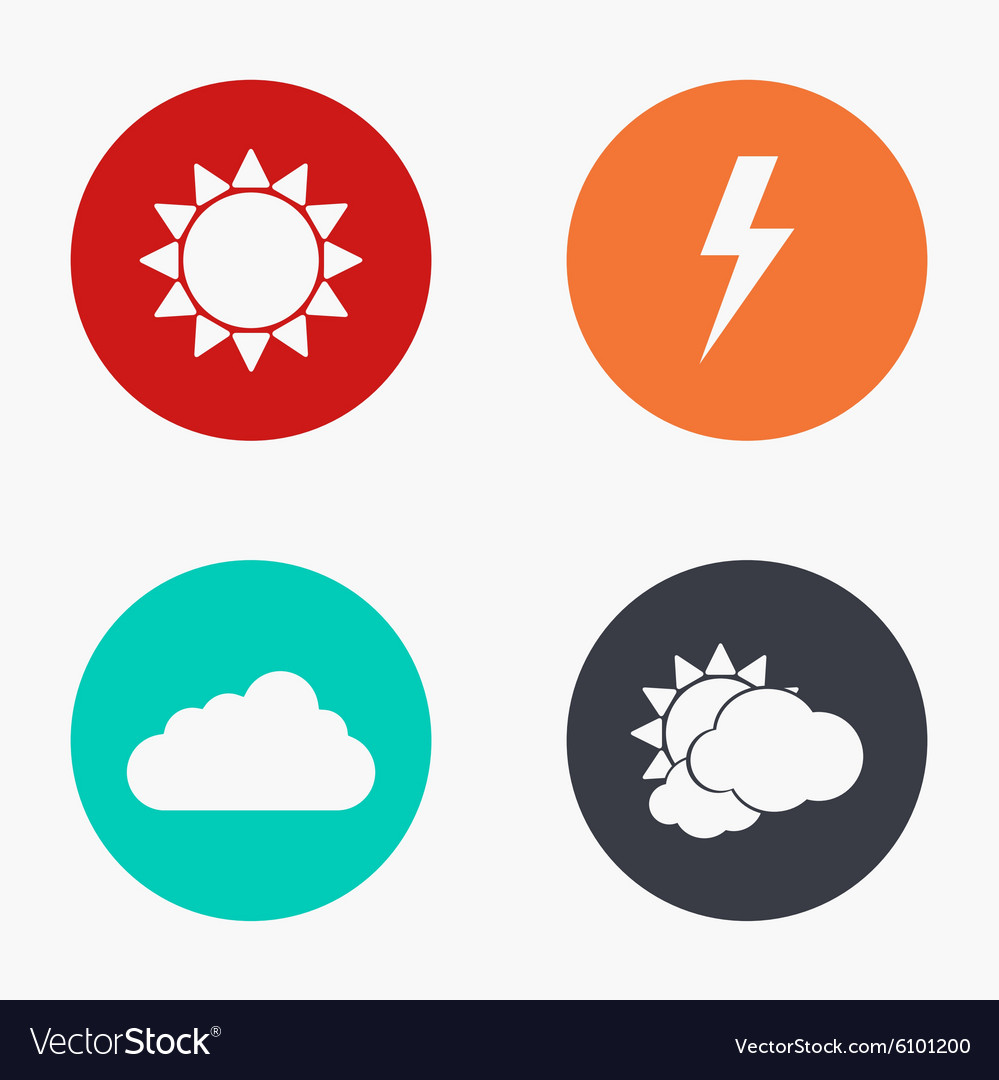 Modern weather colorful icons set