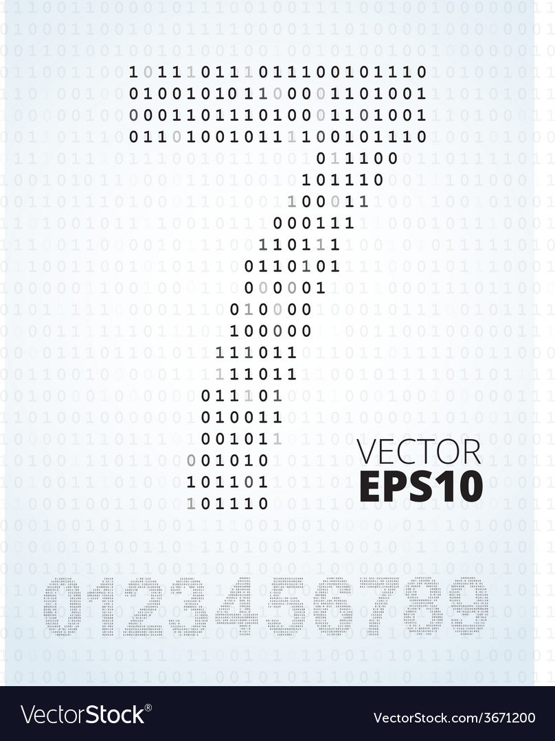 Number 0-9 alphabet from binary code vector image