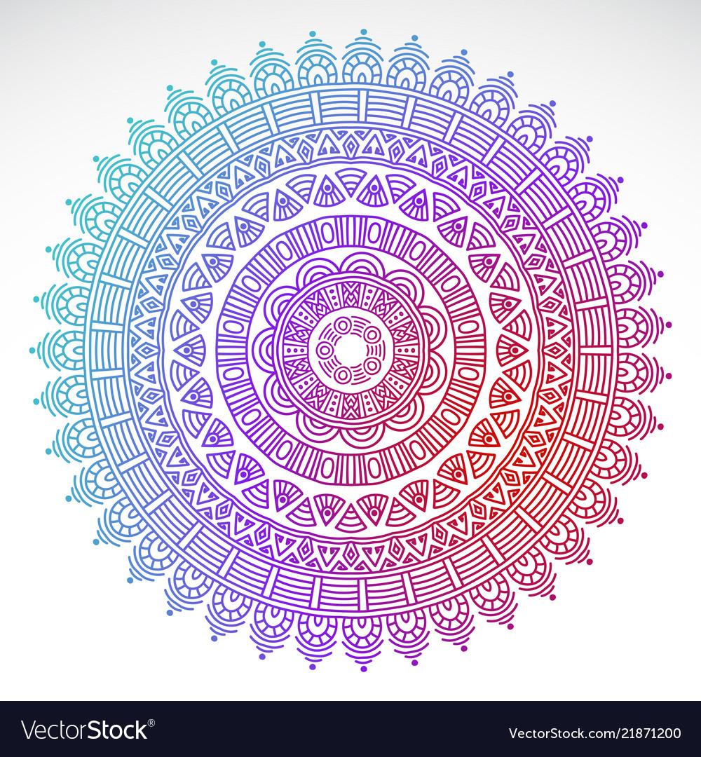 Round gradient mandala on white isolated