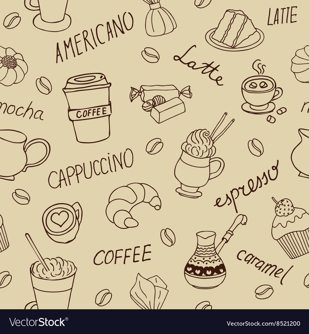 Seamless coffee pattern with hand drawn elements