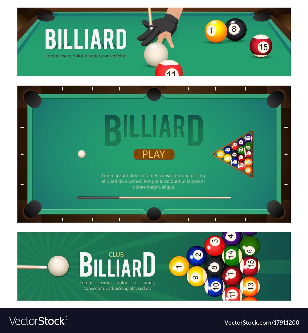 Set of pool billiard snooker tournament banners Vector Image