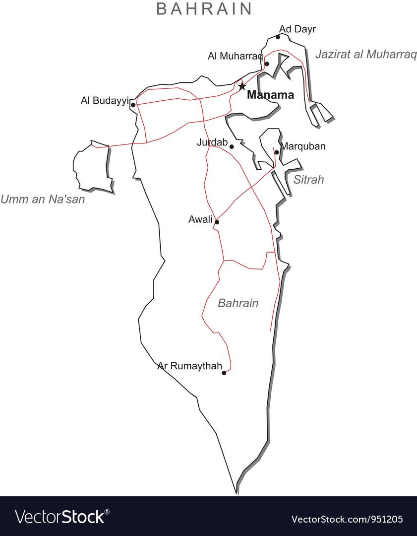 bahrain road map download Bahrain Black White Map Royalty Free Vector Image bahrain road map download