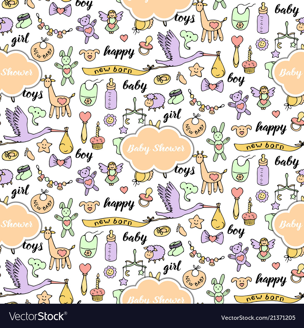 Bashower doodle and lettering seamless pattern
