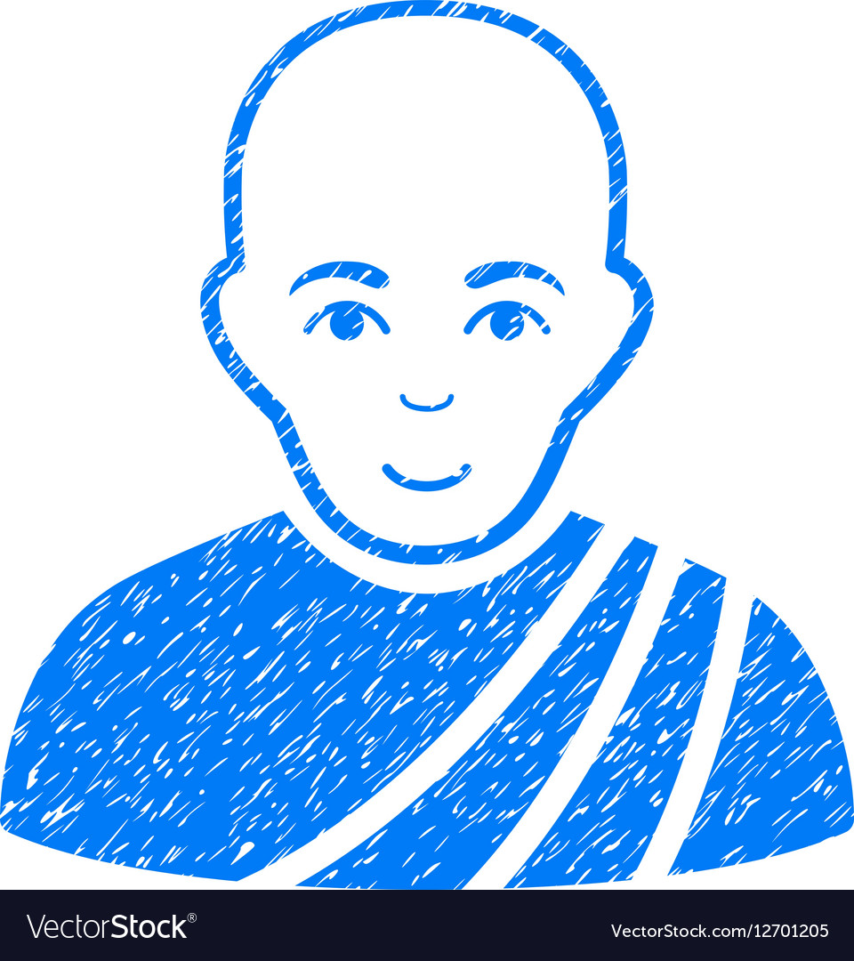 Buddhist Monk Grainy Texture Icon vector image