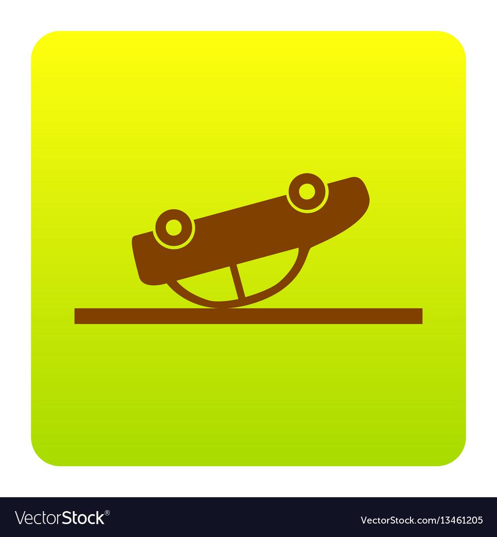 Crashed car sign brown icon at green