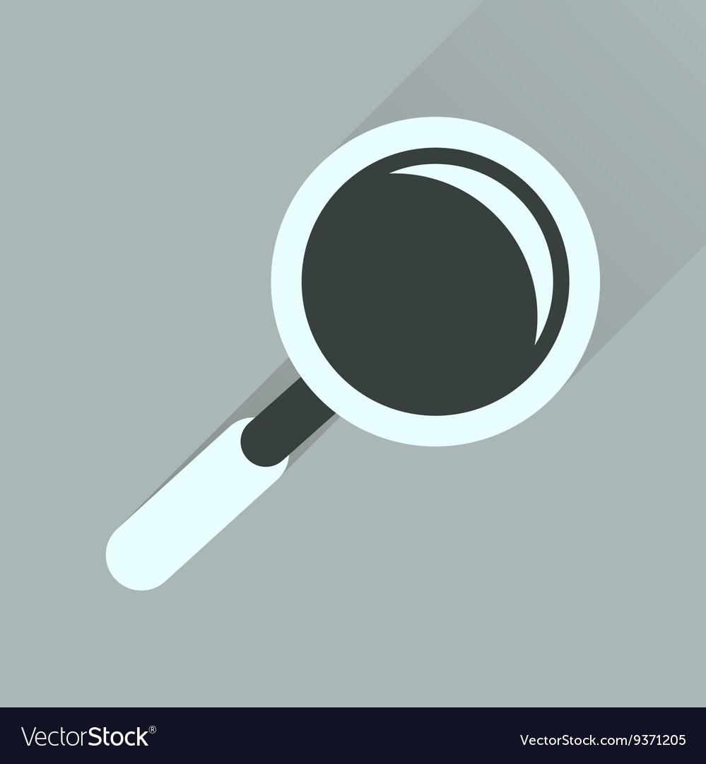 Flat icon with long shadow magnifying glass