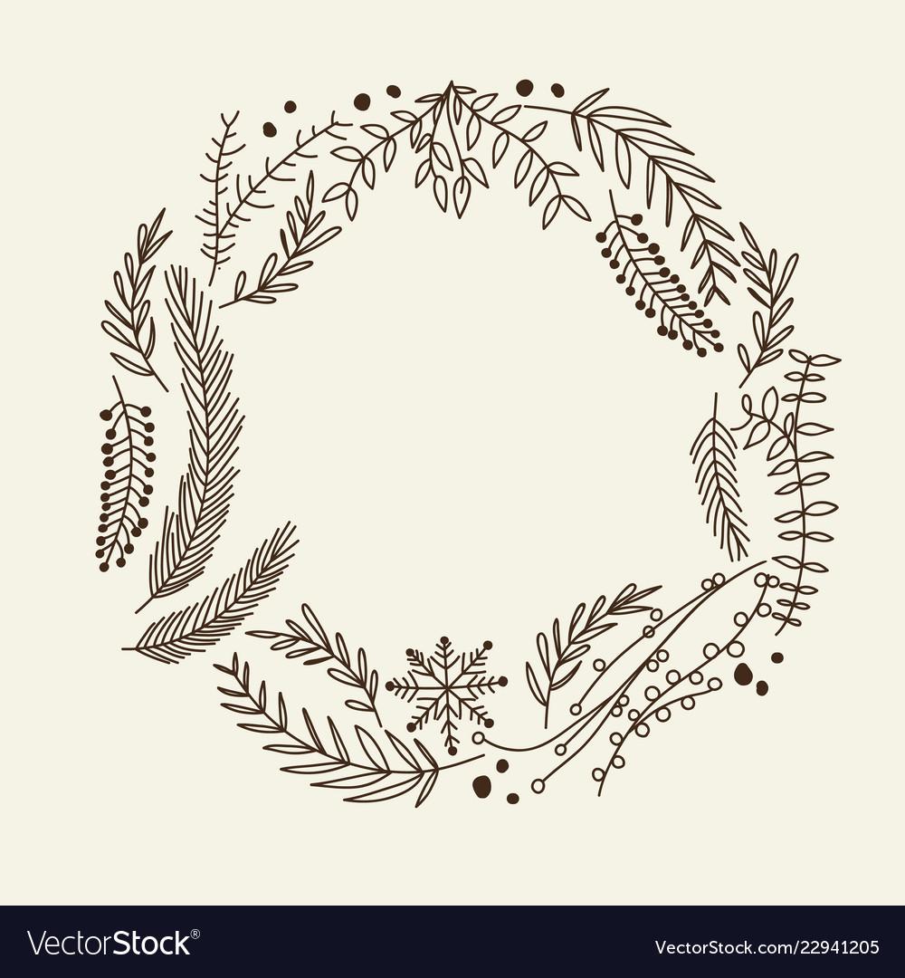 Hand drawn christmas natural wreath