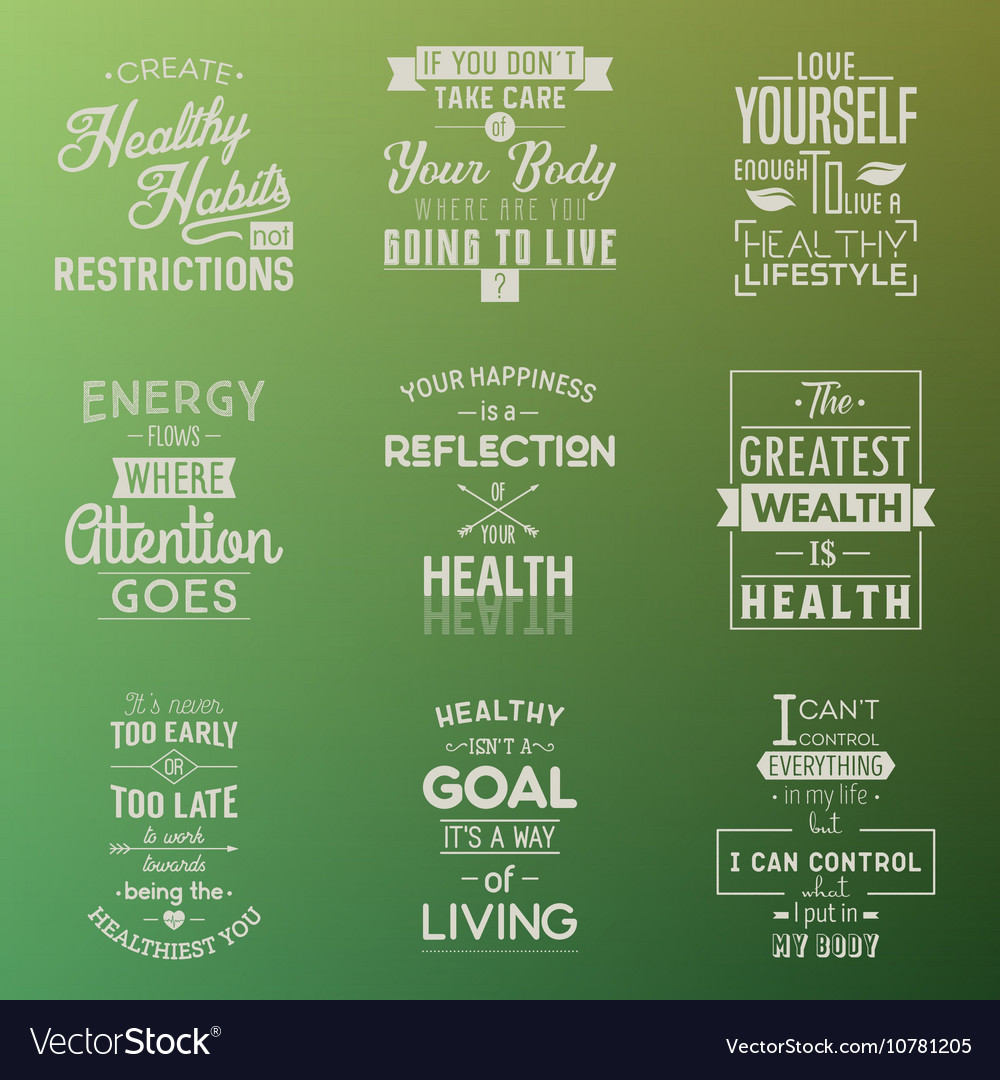 Health Typography quotes Royalty Free Vector Image