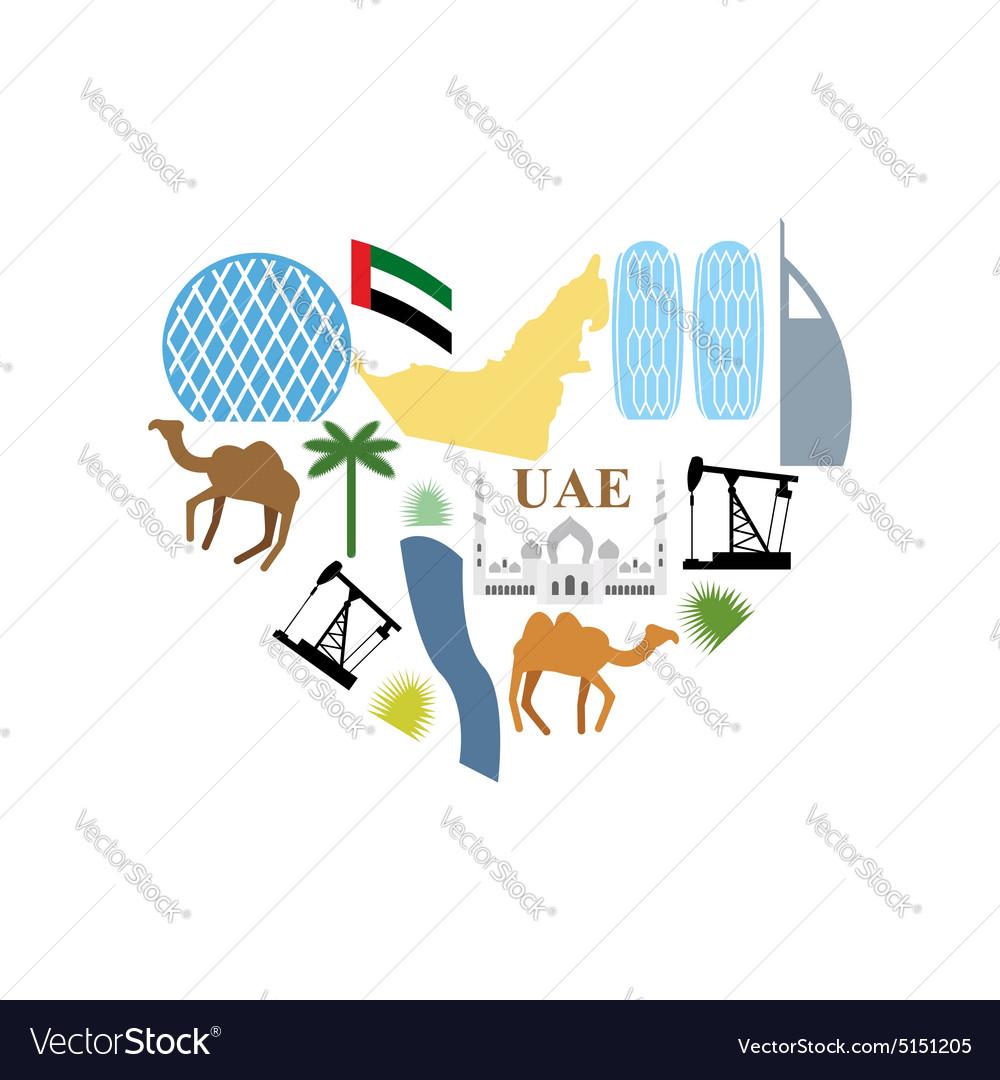 I love UAE Symbol Heart attractions of United Arab