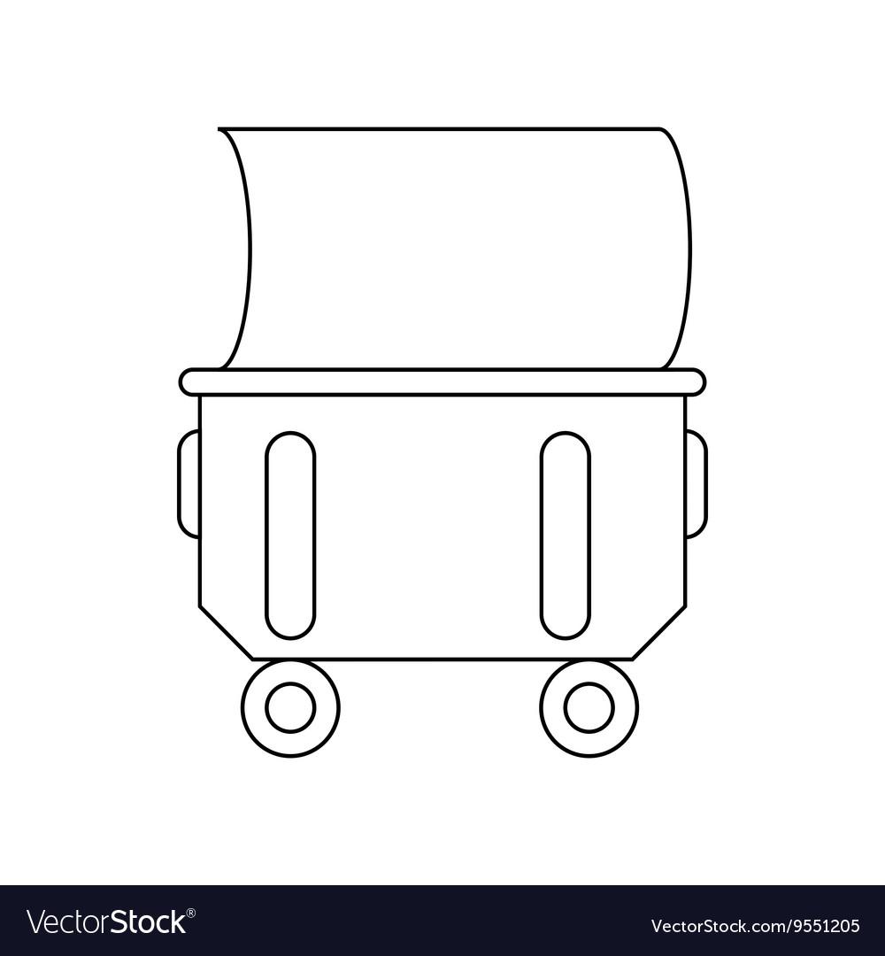 Industrial wheelie bin icon outline style