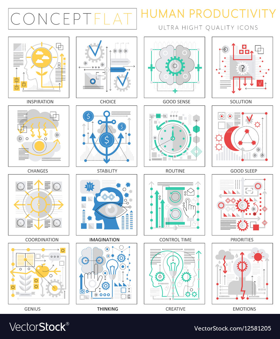 Infographics mini concept Human productivity icons