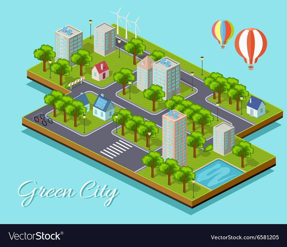 Isometric Isolated Green City Concept vector image