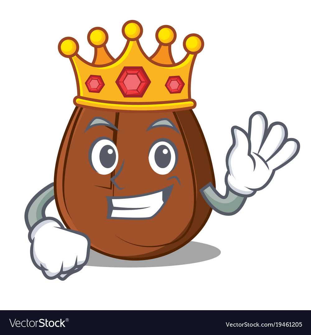 King Coffee Bean Mascot Cartoon Vector Image