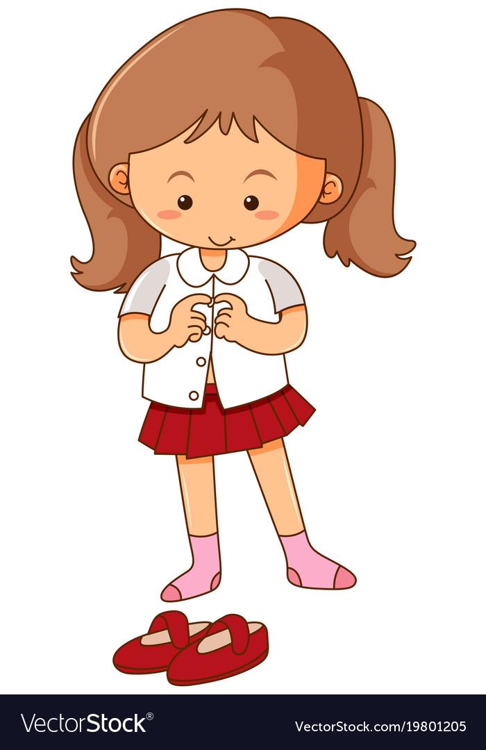 Little Girl Getting Dress On White Background Vector Image-7298