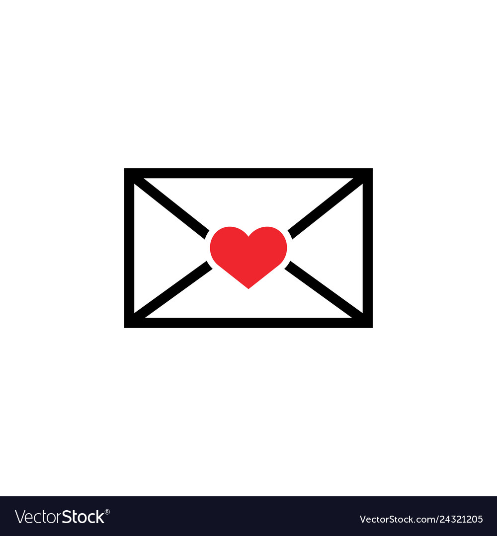 Love letter icon design template isolated