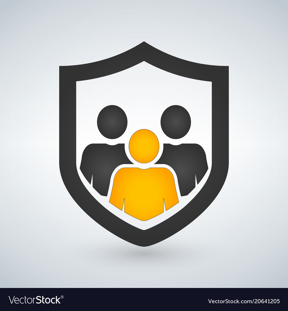 Man people shield insurance icon