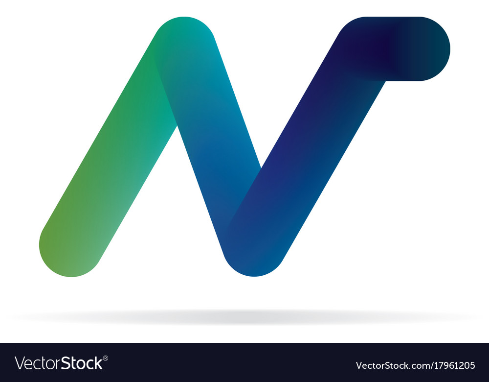 n letter logo 3d initial logo template royalty free vector