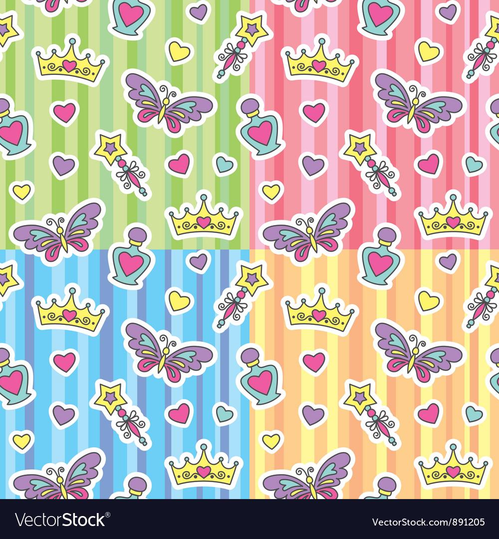 Princess patterns set vector image