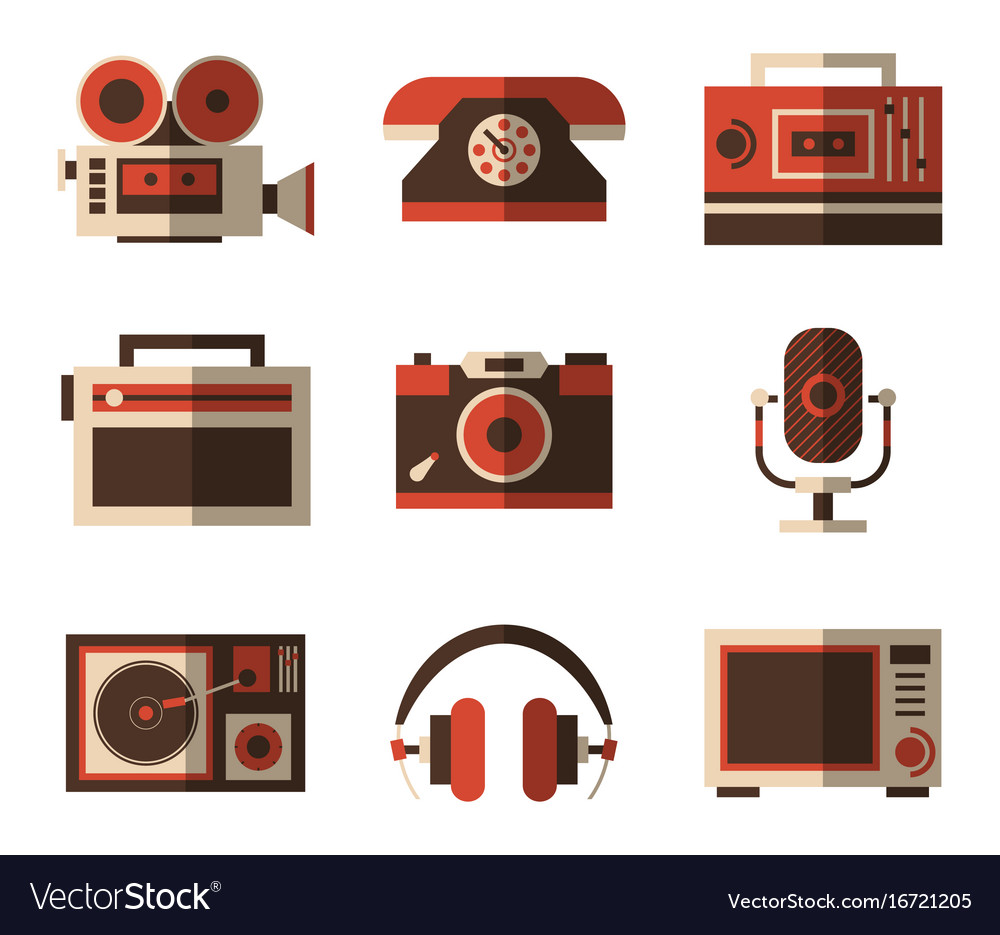 Retro and old vintage items for entertainment vector image