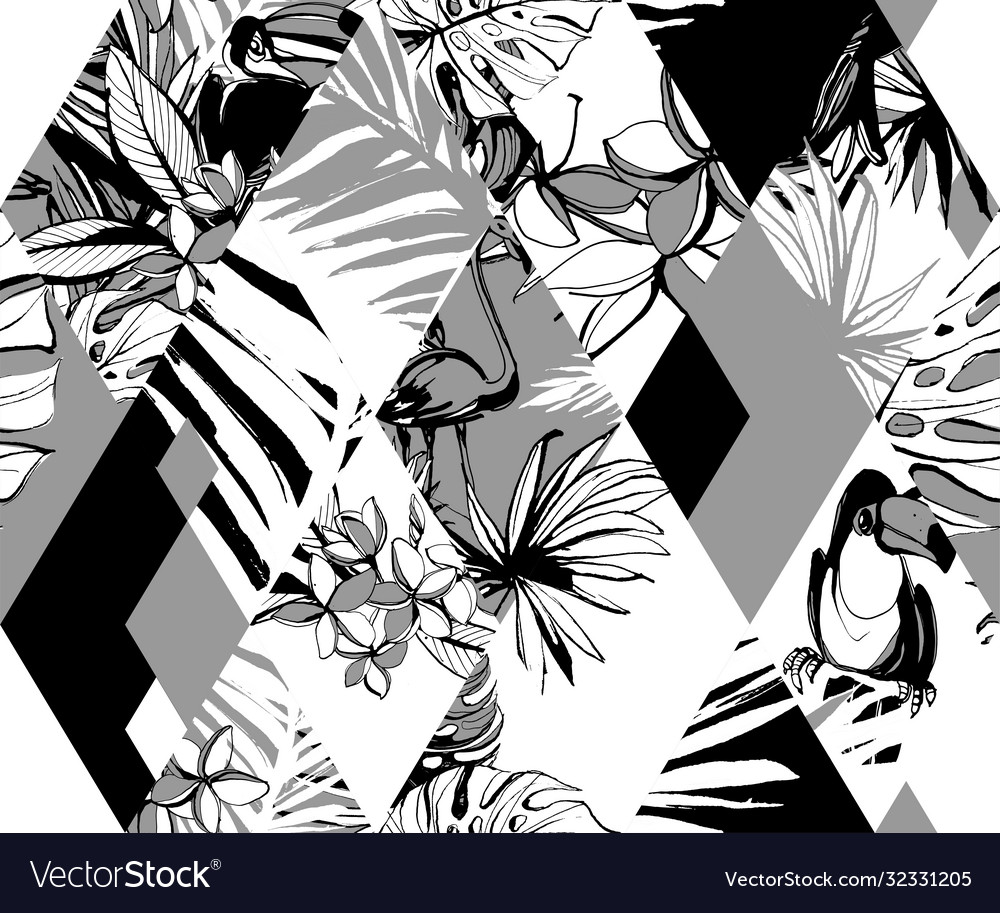 Seamless diamond pattern tropical birds palms