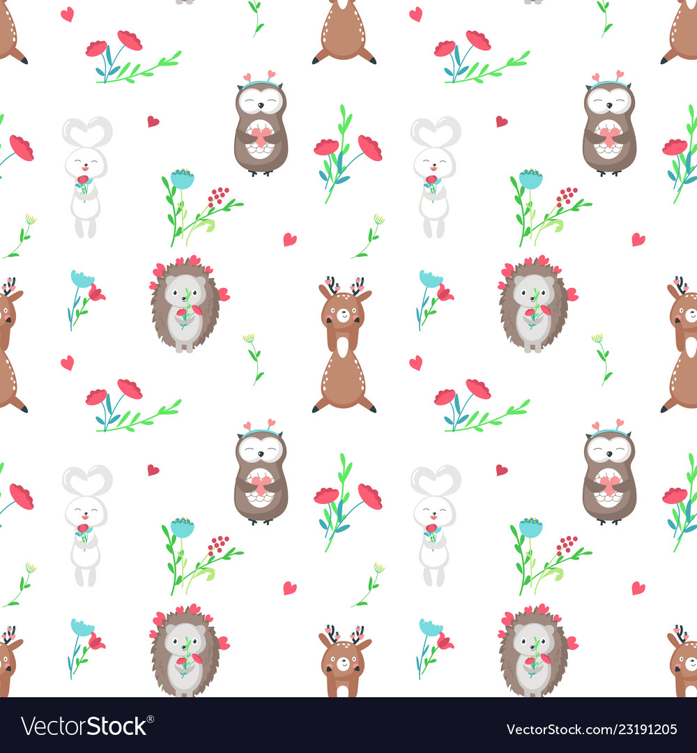Seamless pattern with cute animals in love