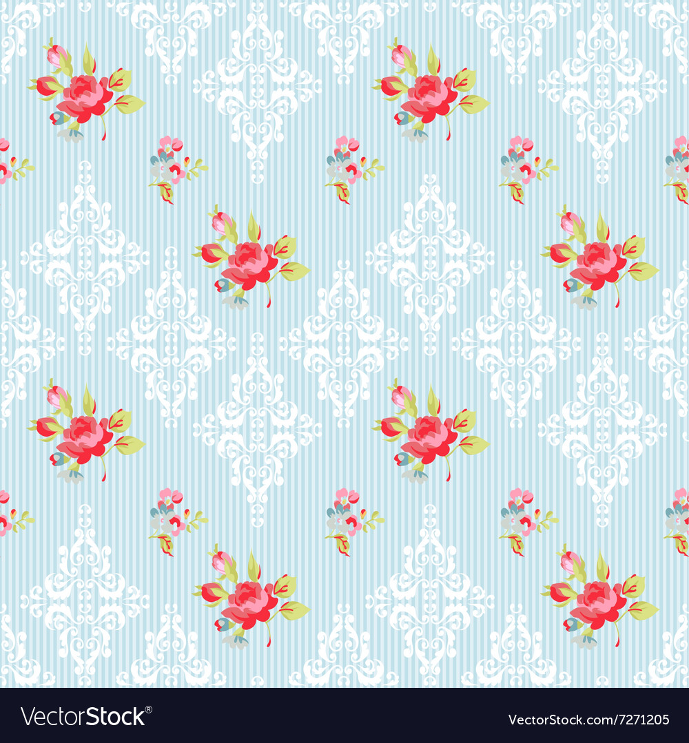 Seamless pattern with red roses and damask