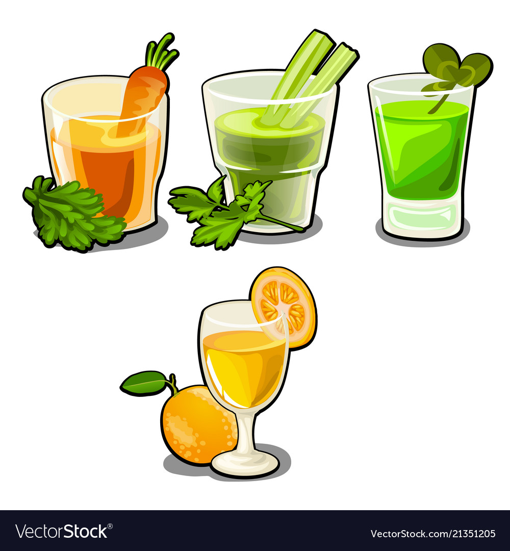 Set of glasses with fresh vegetable and fruit