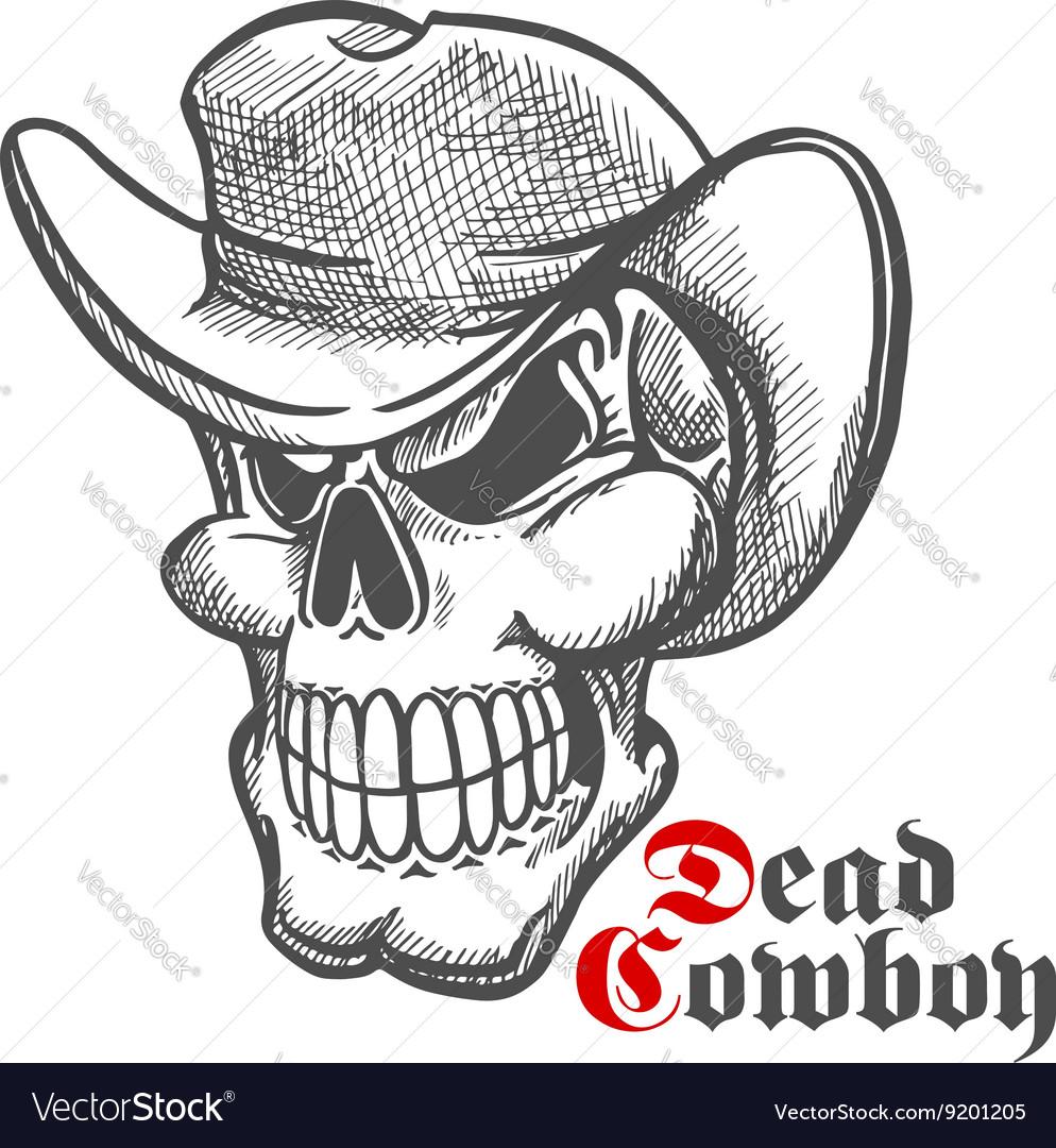 Skull of dead cowboy in hat sketch symbol