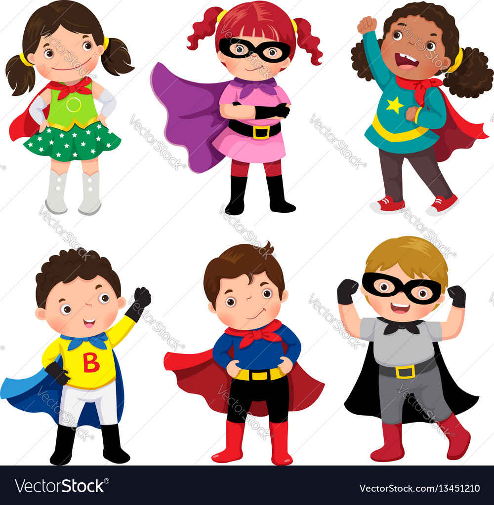 Boys and girls in superhero costumes on white