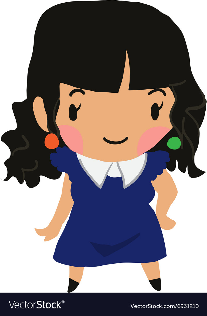 Cartoon girl flat sticker icon vector image