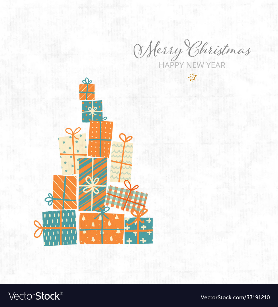 Christmas greeting card with gift boxes on
