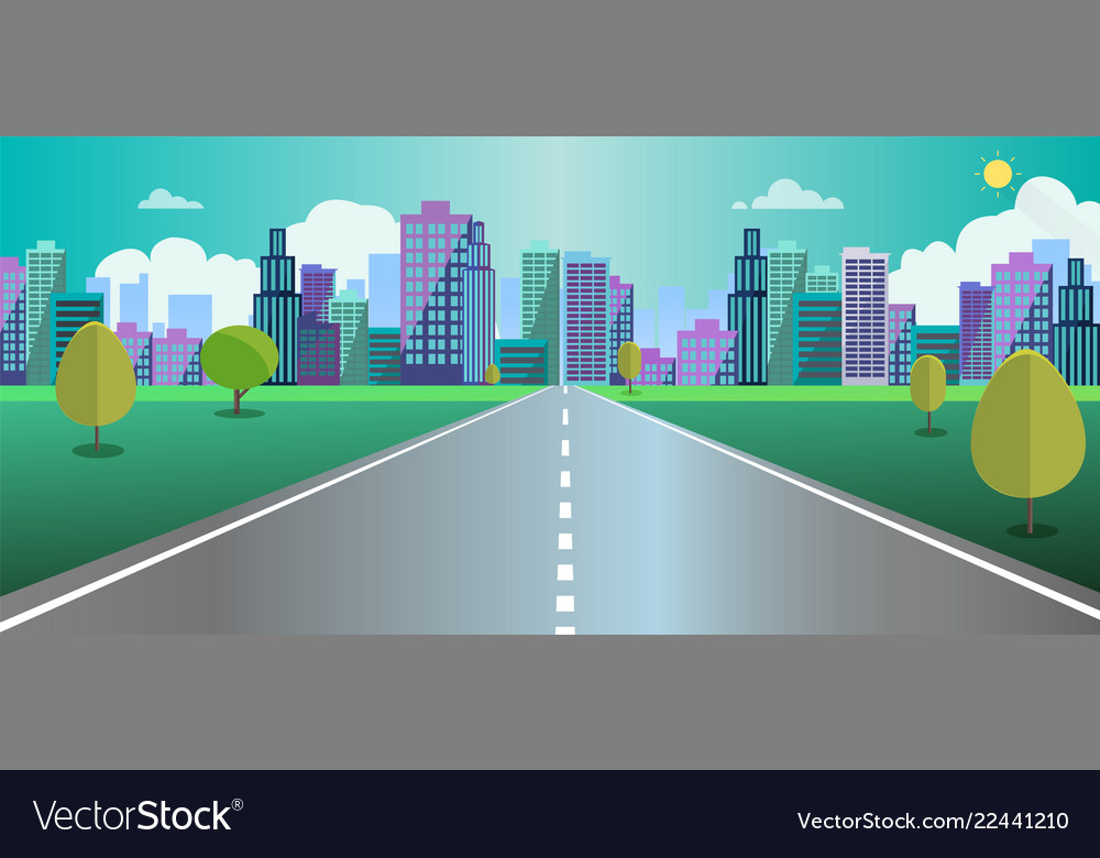 Cityscape scene with road trees and sky