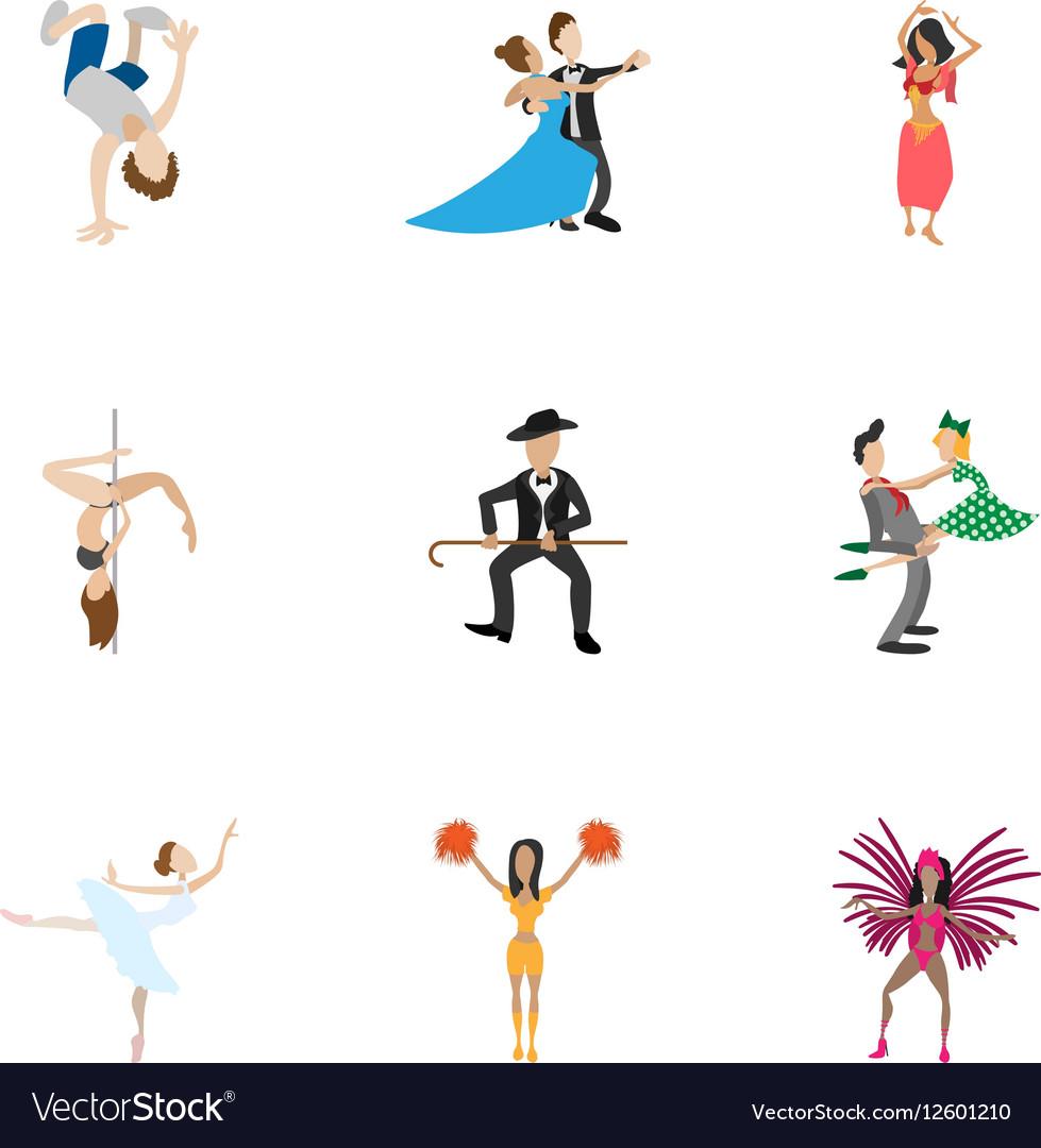 Dancing icons set cartoon style