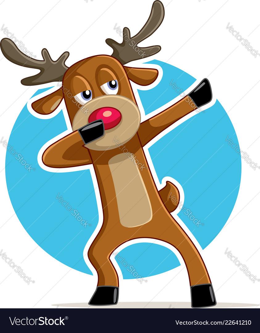 Funny dabbing reindeer cartoon Royalty Free Vector Image