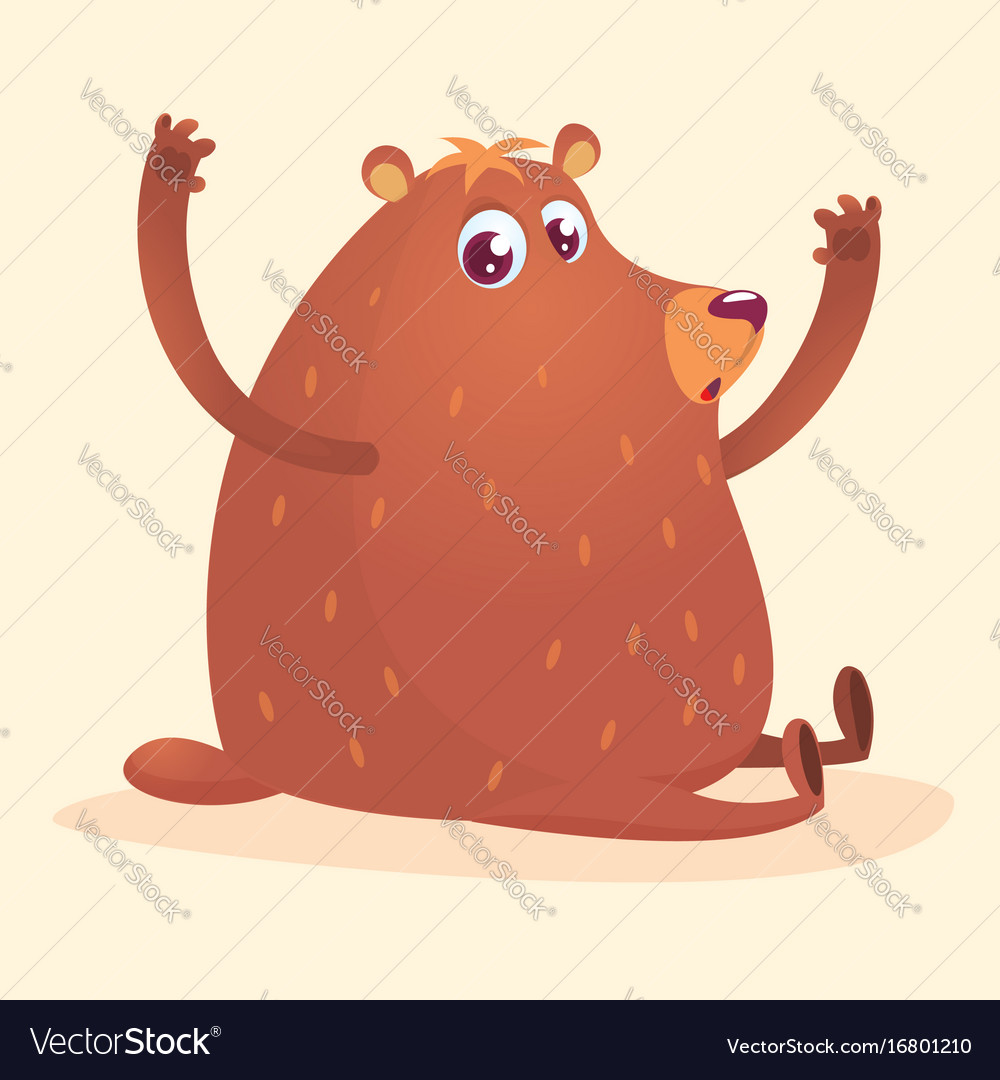 Happy cartoon brown bear