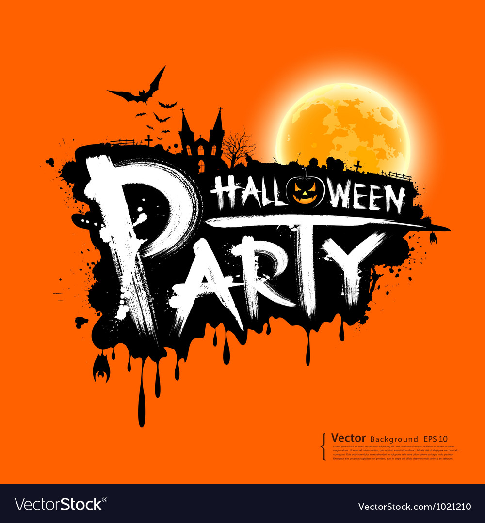 happy halloween party text design royalty free vector image