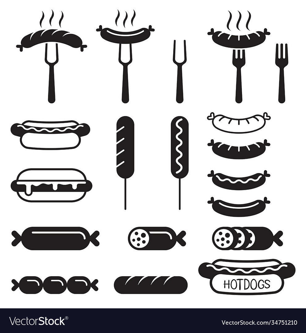 Hotdogs icons set vector