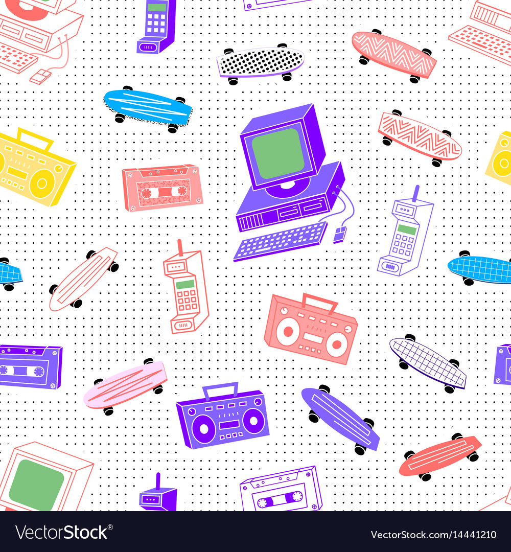 Pattern sets 80s 90s background with dots vector image