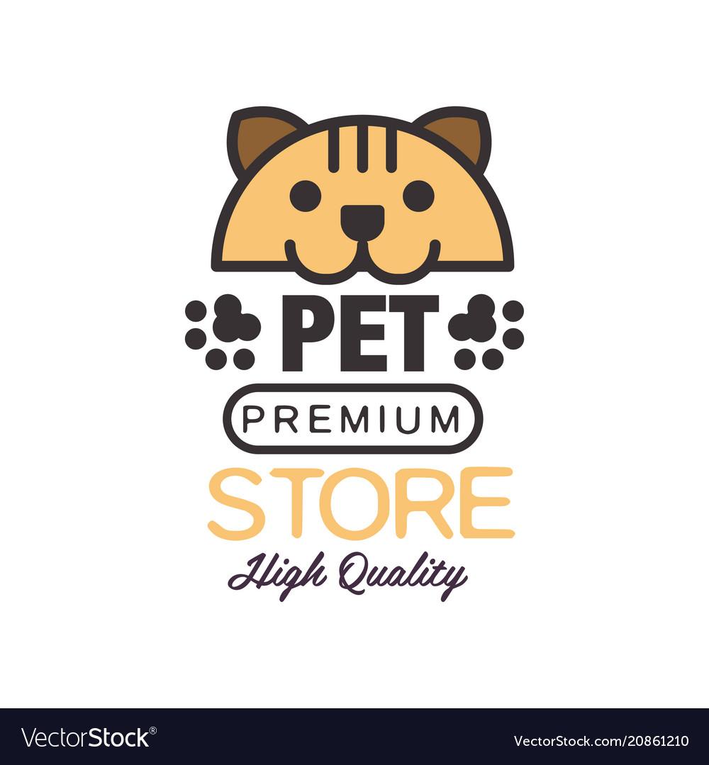 Pet store logo template design brown badge for